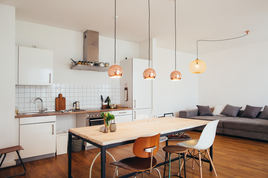 Modern Bright Kitchen With Living Room