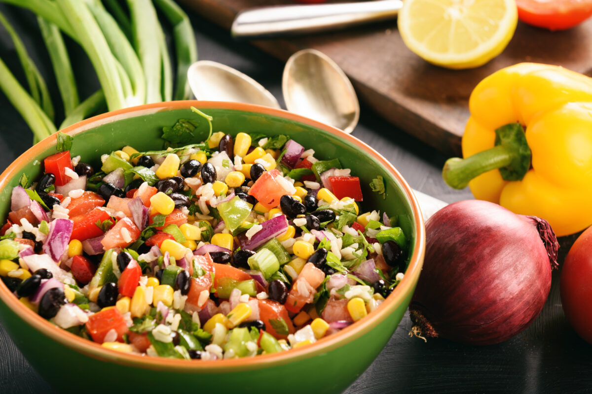 Salad with beans, corn and other vegetables