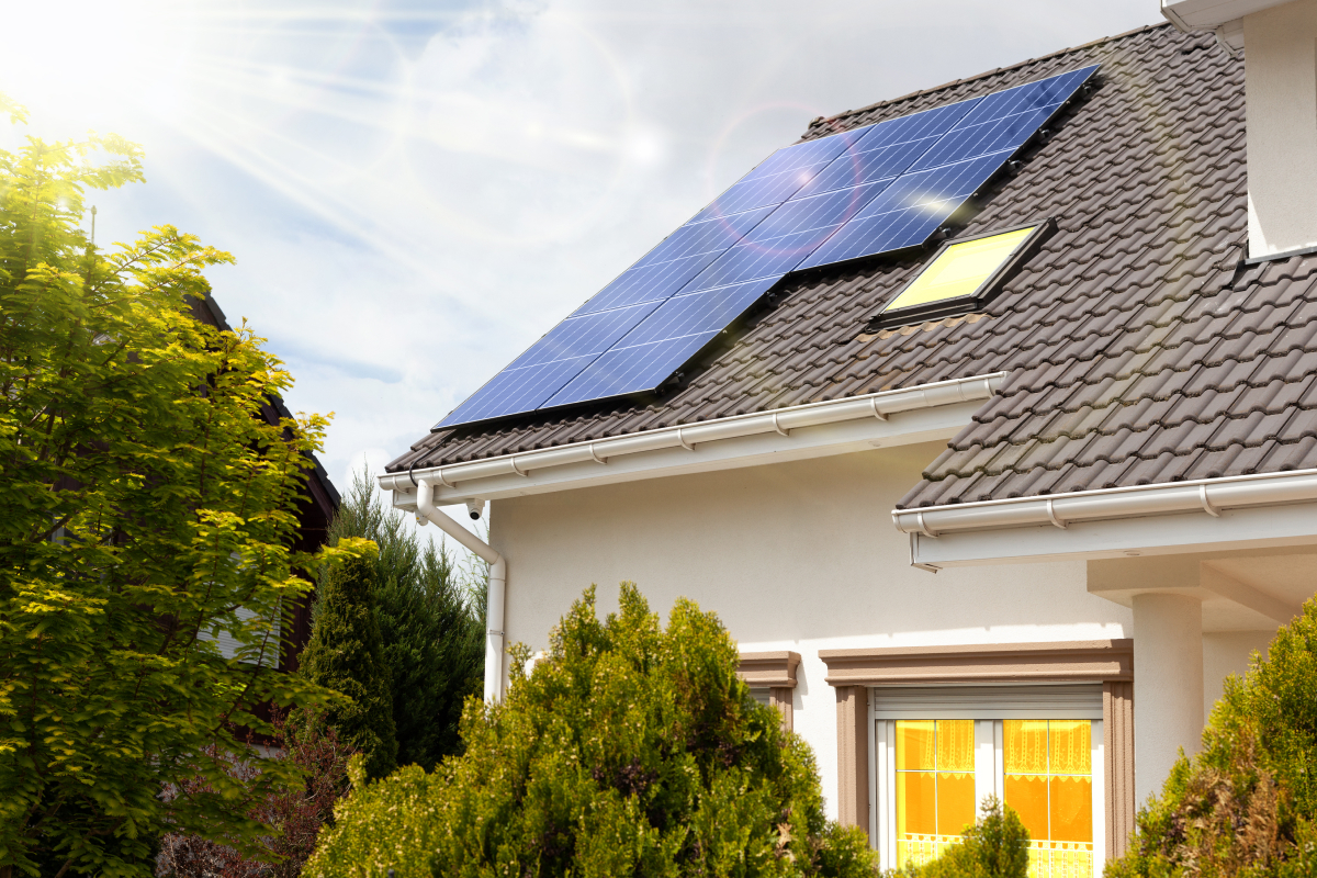 picture of a house with solar panels